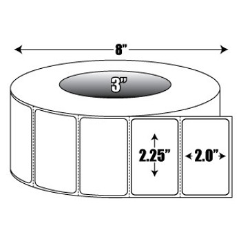 Labels 2.25 in. x 2 in. General Purpose Roll Label - 3 inch core