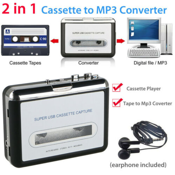 Cassette Player Tape to MP3 File Converter Capture Digital Audio Music Player