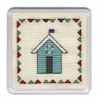 Beach Huts Coaster (Turquoise Stripe) Cross Stitch Kit by Textile Heritage