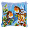 Robins with Christmas Latch hook kit cushion by Vervaco