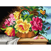 Printed Roses in a Basket Needlepoint By Orchidea