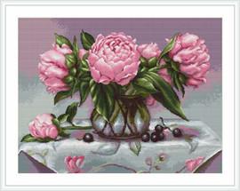 Vase Of Peonies Petit Cross Stitch Kit By Luca S