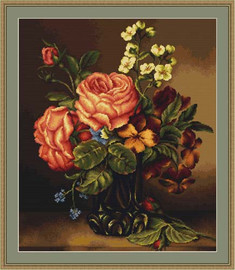 Vase Of Roses And Flowers Petit Cross Stitch Kit By Luca S