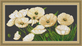 White Poppies Ii Petit Cross Stitch Kit By Luca S