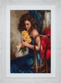 Elegant Lady Yellow Roses Petit Point Cross Stitch Kit