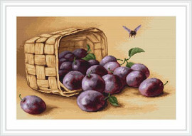 Basket Of Plums Petit Cross Stitch Kit By Luca S