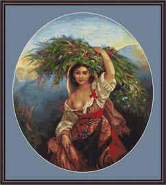 Italian Lady With Flowers Petit Cross Stitch Kit By Luca S