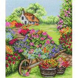 Floral Wheelbarrow Cross Stitch Kit By Anchor