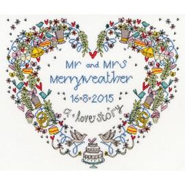 Wedding Heart Cross Stitch Kit by Bothy threads
