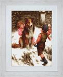 Snowball Fight Petit Point Cross Stitch Kit by Luca-S