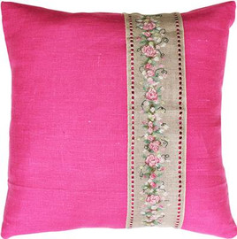 Rose Band Pillow - Pink Cross Stitch Kit by Luca-S