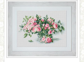 Bouquet of Pink Roses Cross Stitch Kit by Luca-s 18 Count