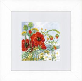 Poppies cross stitch Kit by Lanarte