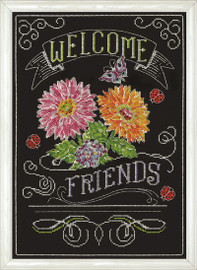 Welcome Friends Chalkboard Cross Stitch Kit by Design Works