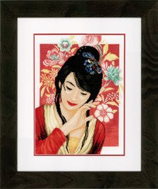 Asian Flower Girl Cross Stitch Kit by Lanarte