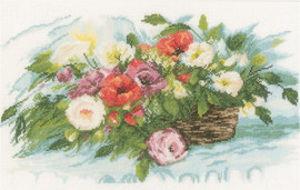 Flower Basket Cross Stitch Kit by Lanarte
