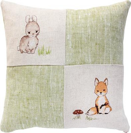 Fox and Rabbit Pillow Cross Stitch Kit by Luca-S
