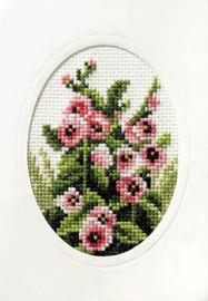 Hollyhocks Cross Stitch Card Kit by Orchidea
