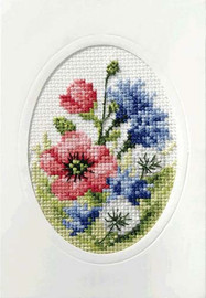 Poppies and Cornflowers Cross Stitch Card Kit By Orchidea