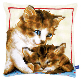 Two Kittens Chunky Cross stitch Cushion Kits By Vervaco