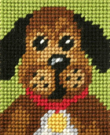 My first Embroidery Needlepoint Kit Pooch by Orchidea