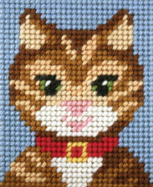 My First Embroidery Needlepoint Kit Tabby Cat By Orchidea