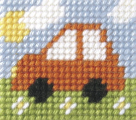 My First Embroidery Mini Needlepoint Kit mini Car By Orchidea