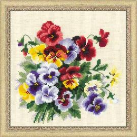 Pansy Medley Cross Stitch Kit by Riolis