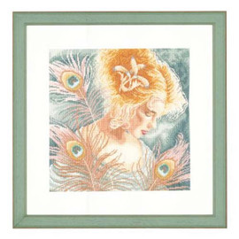 Young lady with Peacock Feathers Cross Stitch Kit by Lanarte