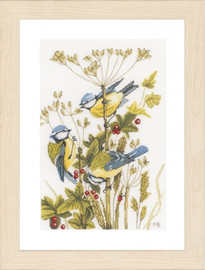 Counted Cross Stitch Kit: Blue Tits (Evenweave) By Lanarte