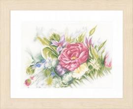 Counted Cross Stitch Kit: Watercolor Flowers (Linen) By Lanarte