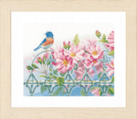Counted Cross Stitch Kit: Wren and Flowers (Evenweave) By Lanate