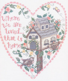 Birdhouse Love Cross Stitch Pattern by Gail Bussi