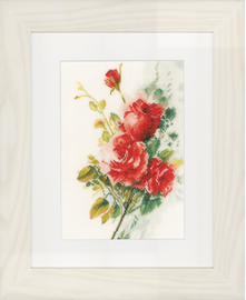 Counted Cross Stitch Kit: Red Roses Bouquet (Linen)