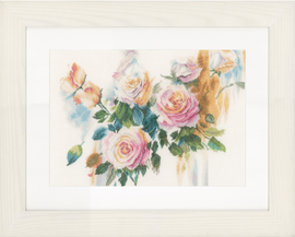 Counted Cross Stitch Kit: Pink Roses Bouquet (Linen)