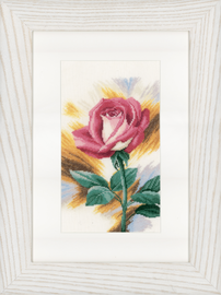 Counted Cross Stitch Kit: Shy Rose (Linen)