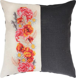 Rose and Daisy Split Cross Stitch Cushion Kit by Luca-S