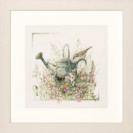 Counted Cross Stitch Kit: Watering Can (Linen) By Lanarte