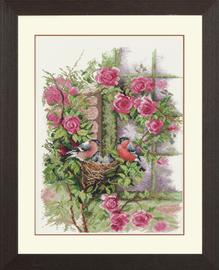 Nesting Birds in Rambler Rose Counted Cross Stitch Kit By Lanarte