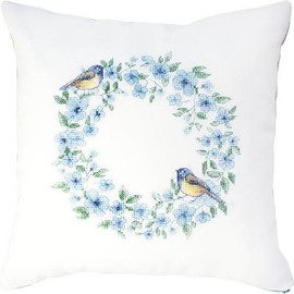 Blue Wreath Pillow Cross Stitch Kit by Luca-s