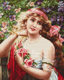 Young Lady with Roses Petit Point Kit by Luca-S