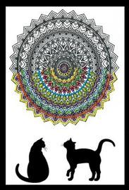 Zenbroidery - Cat Mandala Cotton Fabric
