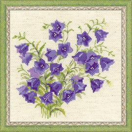Bellflowers Cross Stitch Kit by Riolis 14 Count