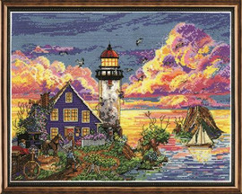 Lighthouse Sunset Cross Stitch Kit by Design Works