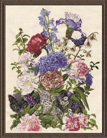 Bouquet with Cat Cross Stitch Kit by Design Works