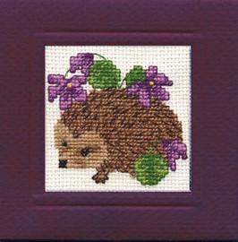 Hedgehog Miniature Card Cross Stitch Kit by Textile Heritage