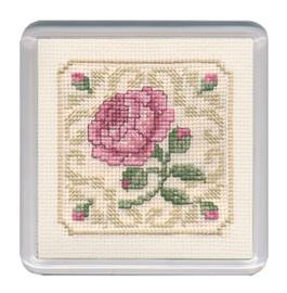 Damask Rose Coaster Cross Stitch Kit by Textile Heritage