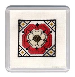 Tudor Rose Coaster Cross Stitch Kit by Textile Heritage