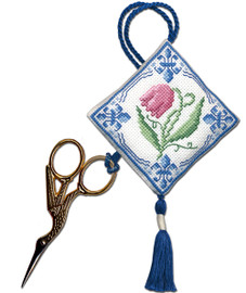 Delft Tulips Scissor Keep Cross Stitch Kit by Textile Heritage
