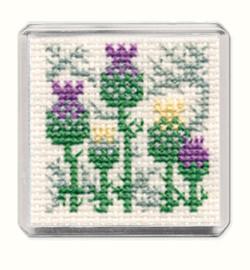 Scottish Thistle Fridge Magnet Cross Stitch Kit by Textile Heritage